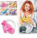 Варежка двухсторонняя для мытья посуды и уборки (фиолетовая) — фото, картинка — 3